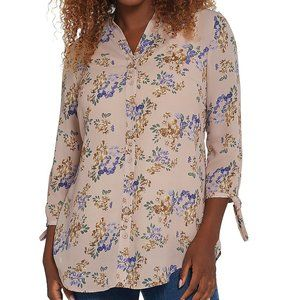 Joan Rivers Floral Print Tunic Top Bow Sleeves 14